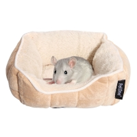 Small Animal Bed Ultra Plush Quilted Lounger 20cm Latte