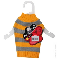 Coat Dog Komfyknit Striped 20cm Grey/Orange
