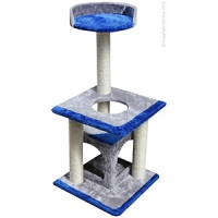 Sisal Post MDF W/top Plate And Cave 40 x 40 x 89cm (blue-grey)