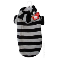 Coat Dog Komfyknit Striped W/ Hood 55cm Black/Grey