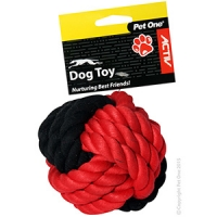 Dog Toy Activ Cotton Rope Ball Red Black 10cm