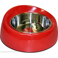 Bowl Round Feed Retainer 700ml Melamine/SS Red