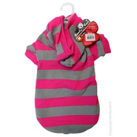 Coat Dog Komfyknit Striped W/ Hood 45cm Pink/Grey