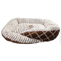 Cat Bed 70x60x18cm Brown Check Brown Strip Wool