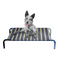 Leisure Raised Dog Bed Charcoal/ Wheat Stripes 75 X 47 X 15cm