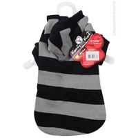 Coat Dog Komfyknit Striped W/ Hood 30cm Black/Grey