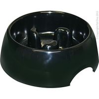 Bowl Round Slow Down Feeder 600ml Melamine Black