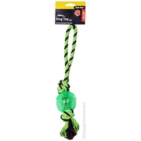 Dog Toy Activ Rope Tug W TPR Ball Small Green Brown 33cm