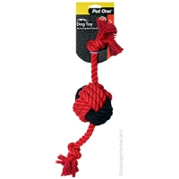 Dog Toy Activ Rope W Ball Red Black 40cm