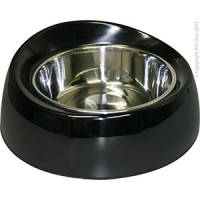 Bowl Round Feed Retainer 700ml Melamine/SS Black