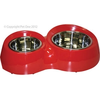 Bowl Round Feed Retainer Double 600/1300ml Melamine/SS Red