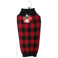 Coat Dog Komfyknit Check 50cm Black/Red
