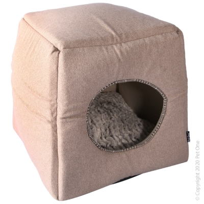 Cat Cube Plush Beige/Cloudy Coffee
