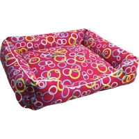 Bedding Square 80 x 70 x 19cm Red with Coloured Rings