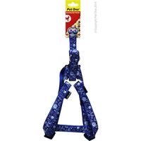 Harness Nylon Woven Pattn Adjustable 20mm 35-50cm Blue on Blue