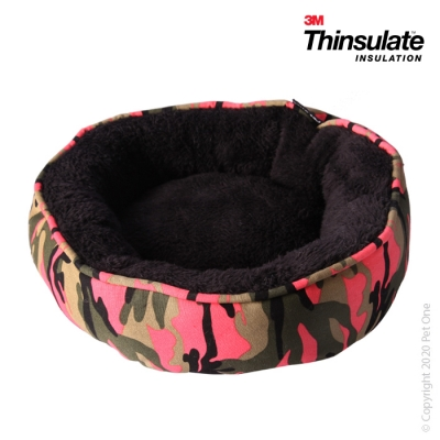 Warmzone Small Animal Bed Round Pink Camo