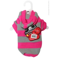 Coat Dog Komfyknit Striped W/ Hood 25cm Pink/Grey