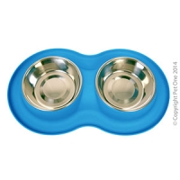 Bowl Silicone S/S Double Bowl M 350ml x 2 Blue