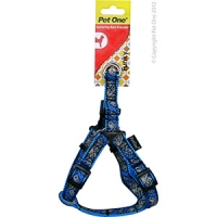 Harness Nylon Woven Pattn Adjustable 15mm 25-40cm Blue on Blue