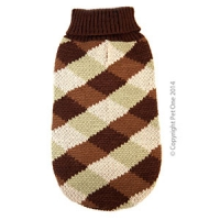 Coat Dog Komfyknit Jumper Check Brown\Green 20cm