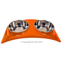 Bowl Melamine/SS Slim Style Double Dinner M Orange