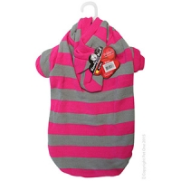 Coat Dog Komfyknit Striped W/ Hood 50cm Pink/Grey