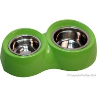 Bowl Round Feed Retainer Double 600/1300ml Melamine/sS Lime Green