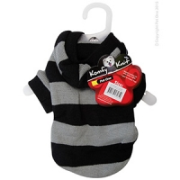 Coat Dog Komfyknit Striped W/ Hood 25cm Black/Grey