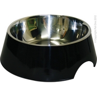 Bowl Round 1400ml Melamine/SS Black