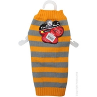 Coat Dog Komfyknit Striped 35cm Grey/Orange
