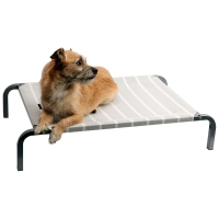 Leisure Raised Dog Bed Grey/White Stripes 75 X 47 X 15cm