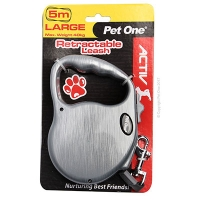 Leash Retractable 5m 40kg And Under Silver