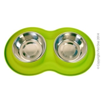 Bowl Silicone S/S Double Bowl M 350ml x 2 Lime Green