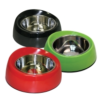 Bowl Round Feed Retainer 160ml Melamine/SS Red