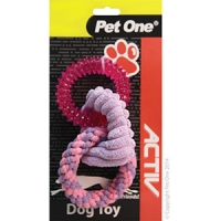 Dog Toy Activ Tpr/rope/plush Triple Ring Red/Pink/Purple