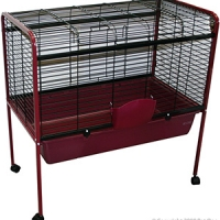 Rabbit Hutch 88.5 x 50 x 90.5cm With Wheels Burgundy